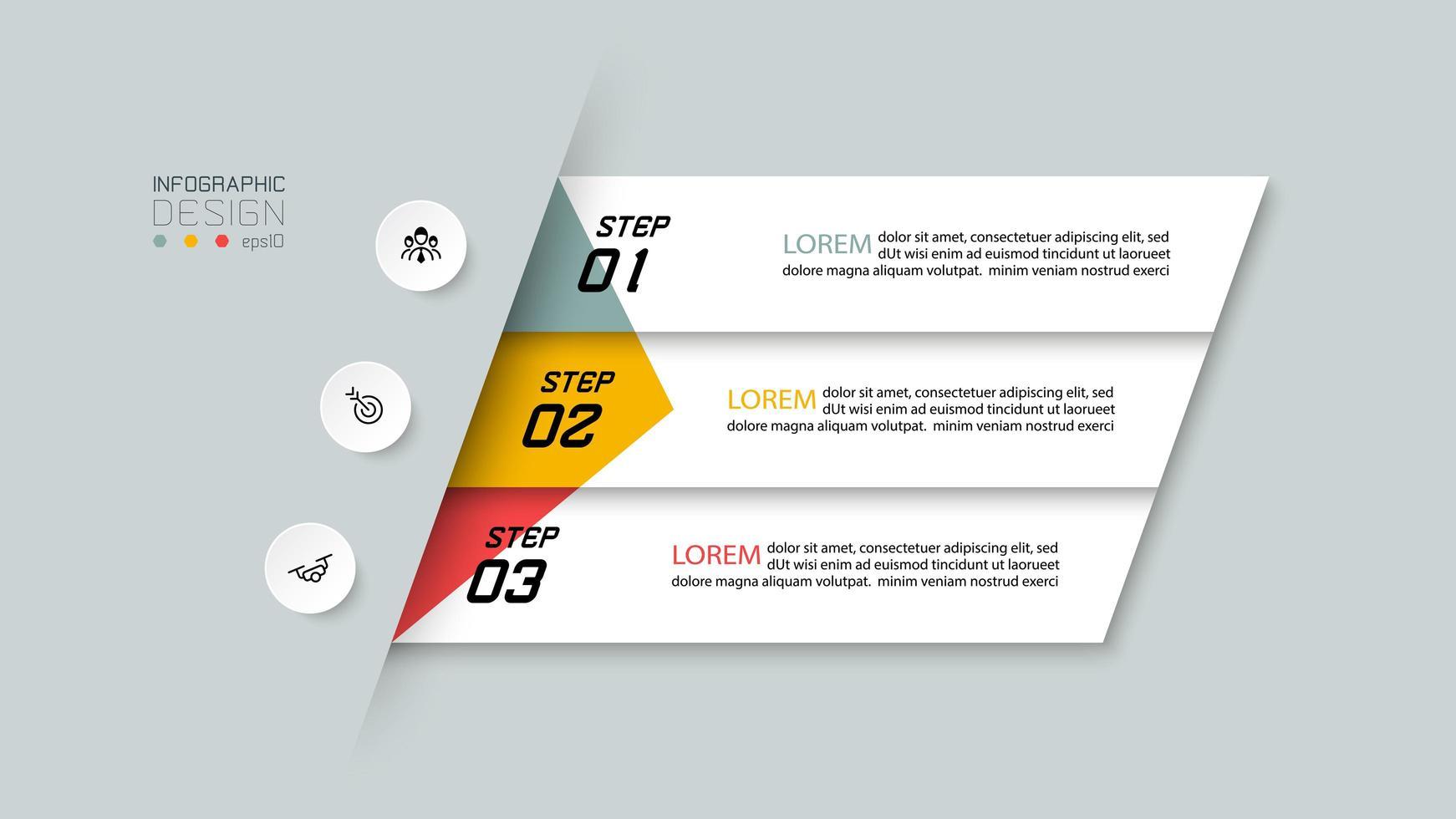 tres pasos infográficos numerados vector