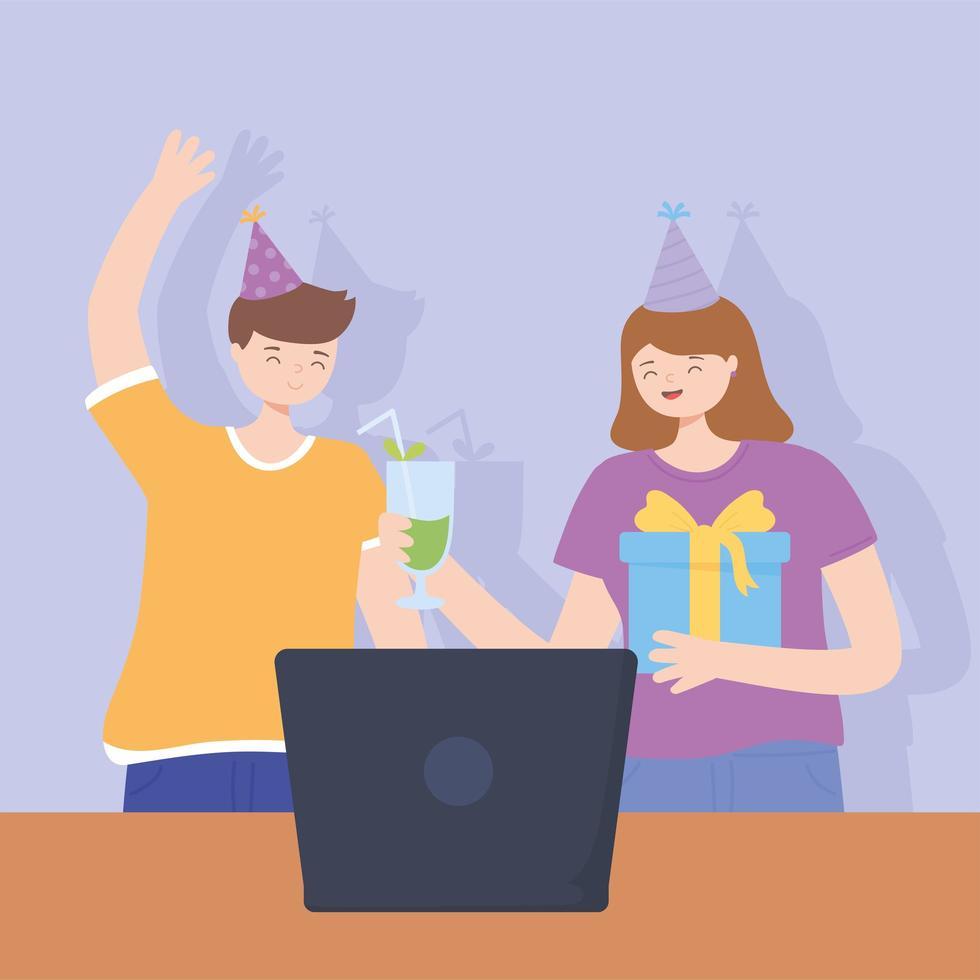casal em uma festa online de videochamada vetor