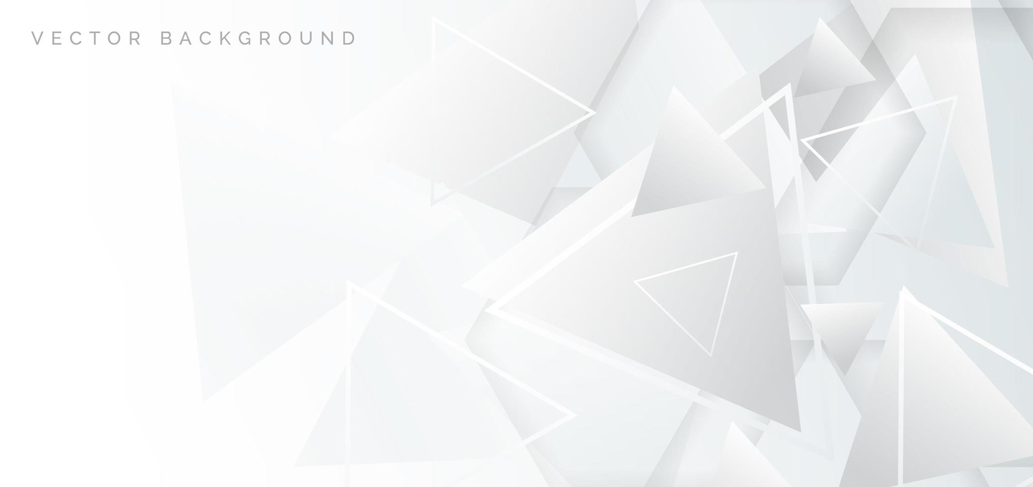 Banner abstracto con elementos geométricos blancos y grises. vector