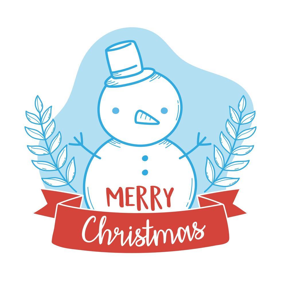 composição de feliz natal com boneco de neve vetor