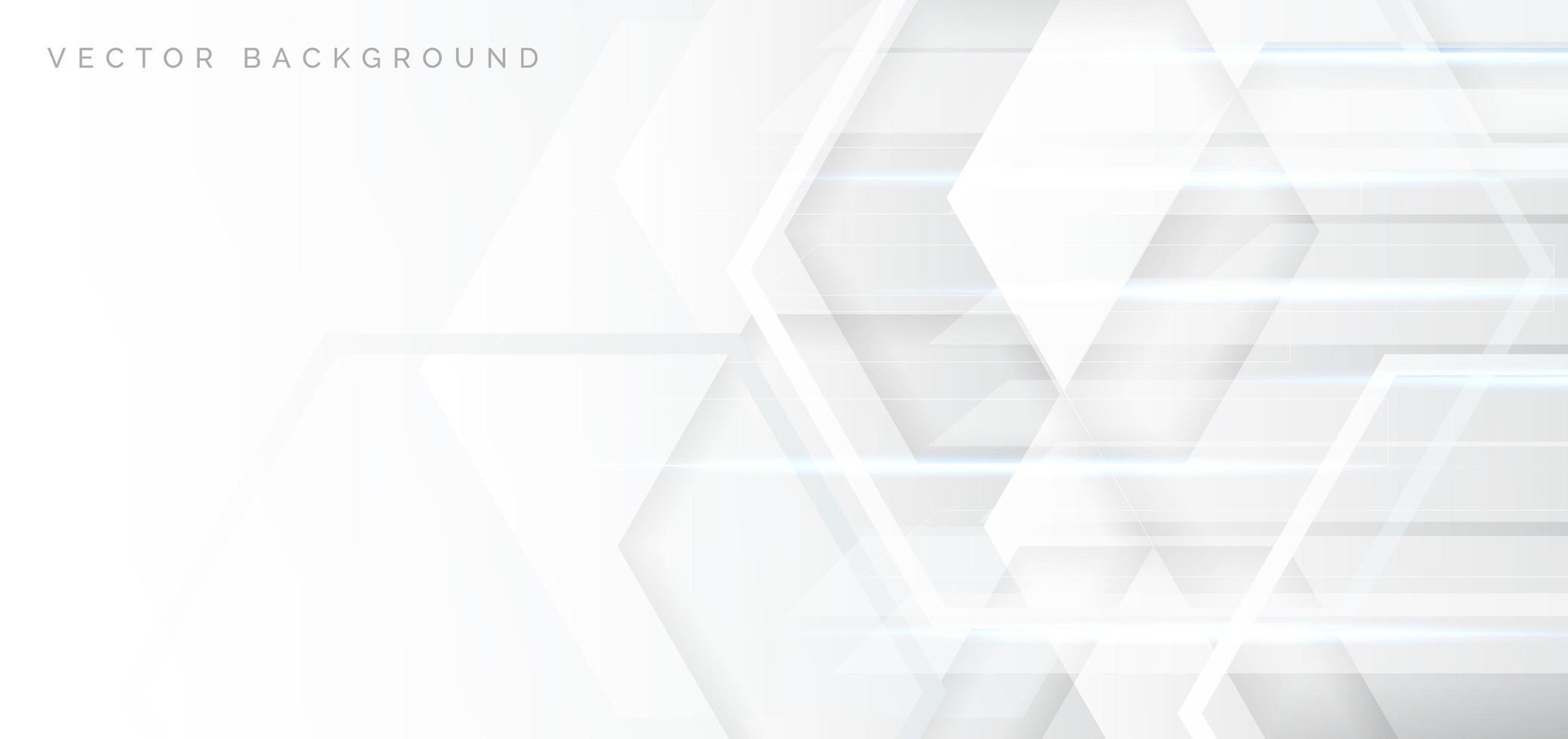 banner abstrato com hexágonos branco e cinza vetor