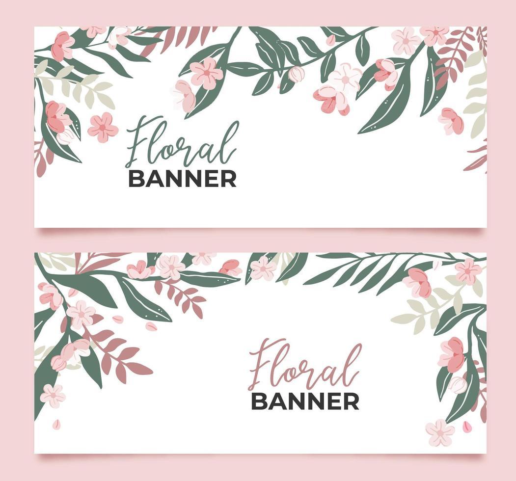 colección de banderas florales vector
