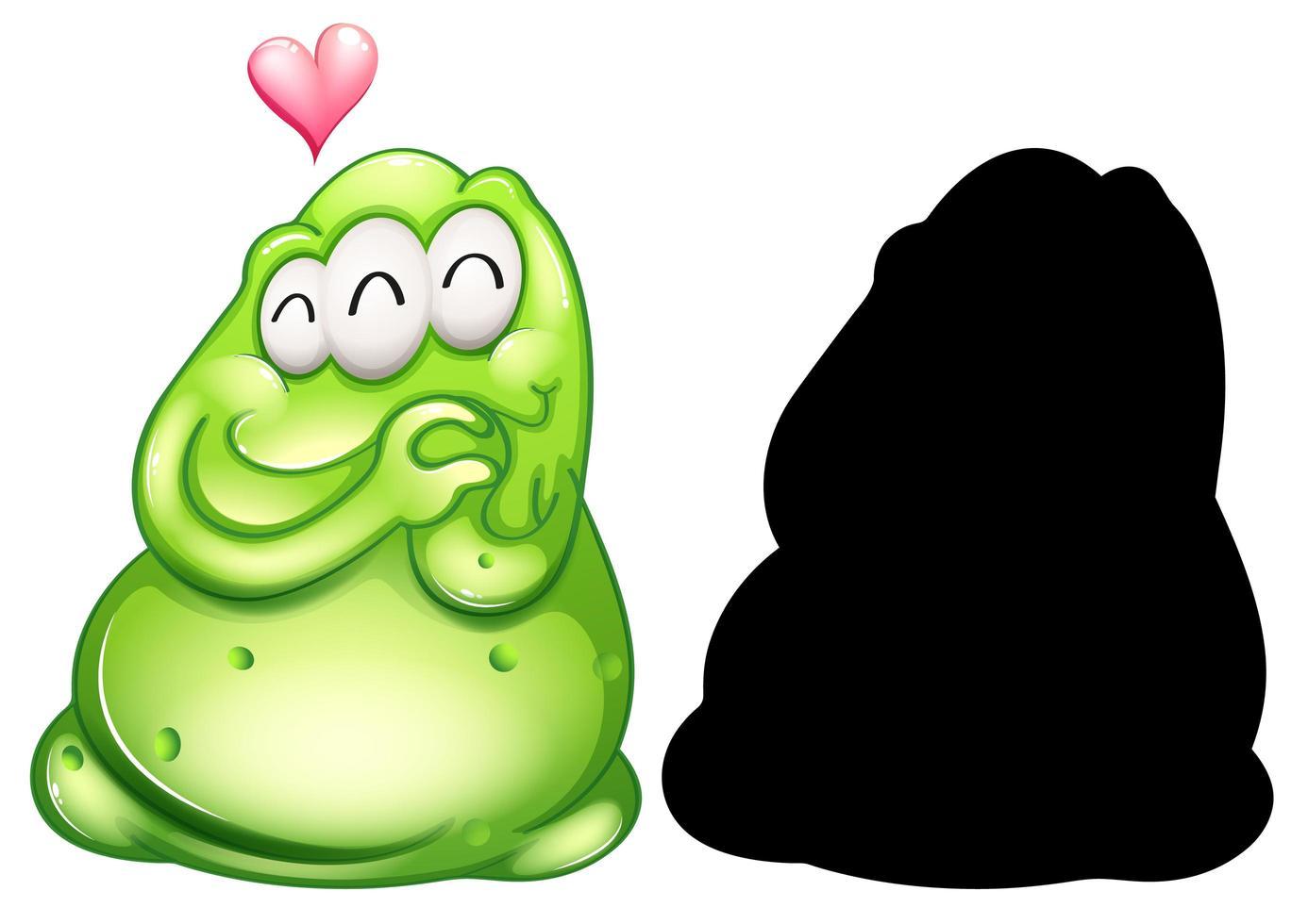 Monstruo verde con su silueta sobre fondo blanco. vector