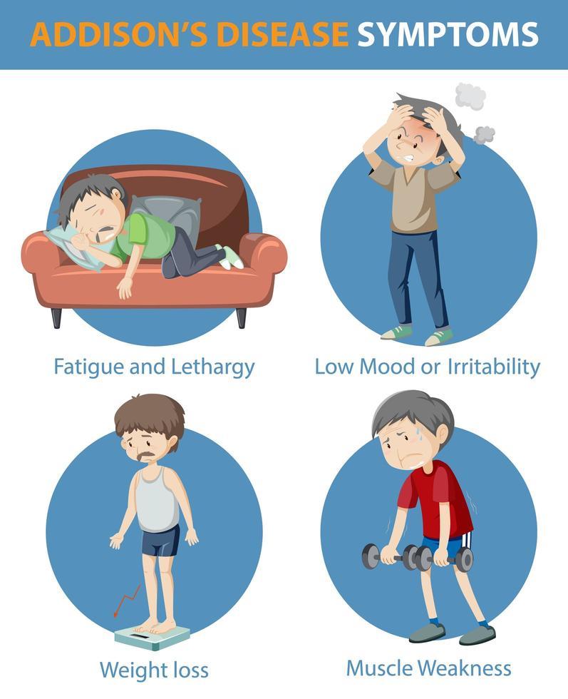 Infografía médica de los síntomas de la enfermedad de Addison. vector