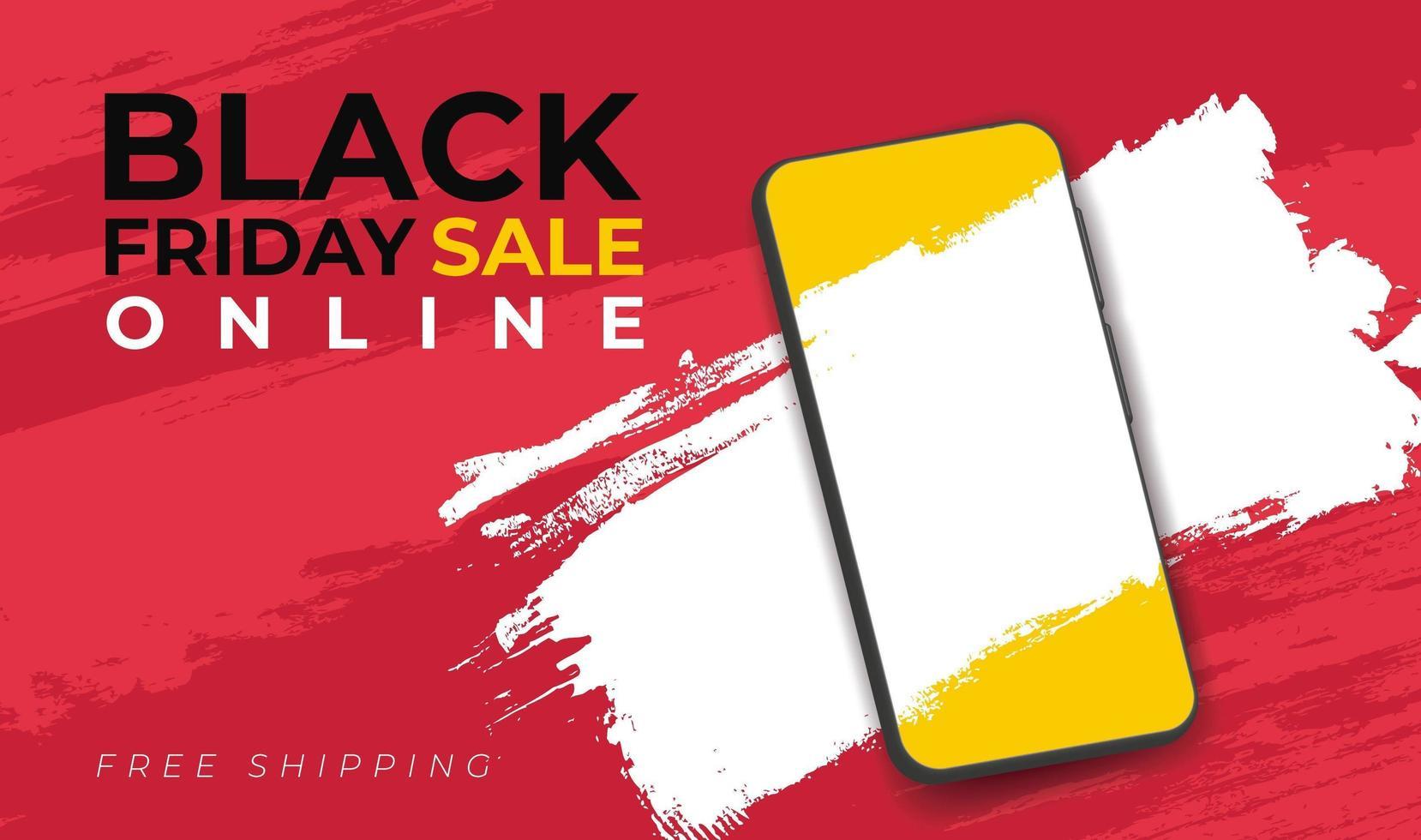 banner para venta de viernes negro con smarthphone vector