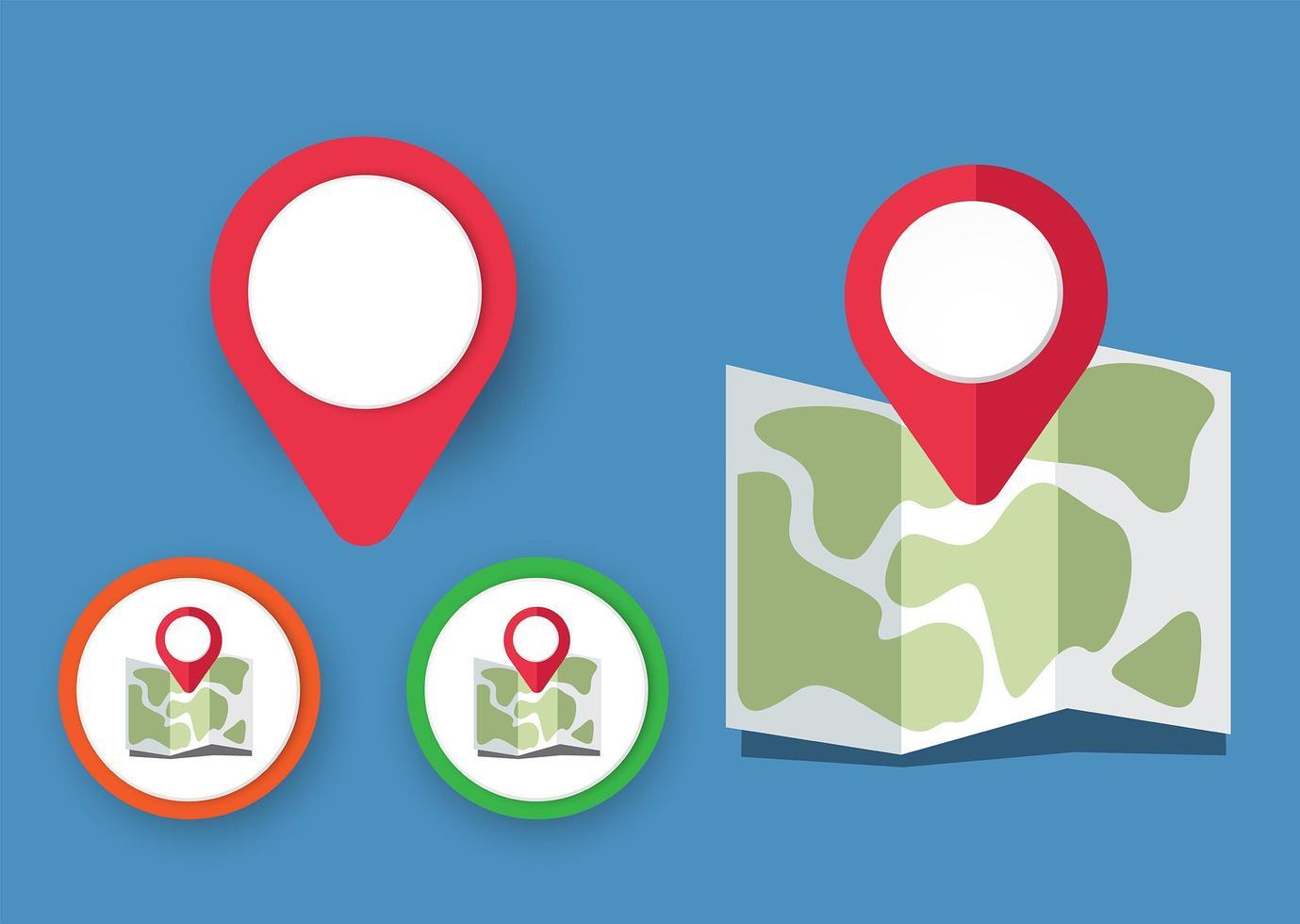iconos de mapa con puntero vector