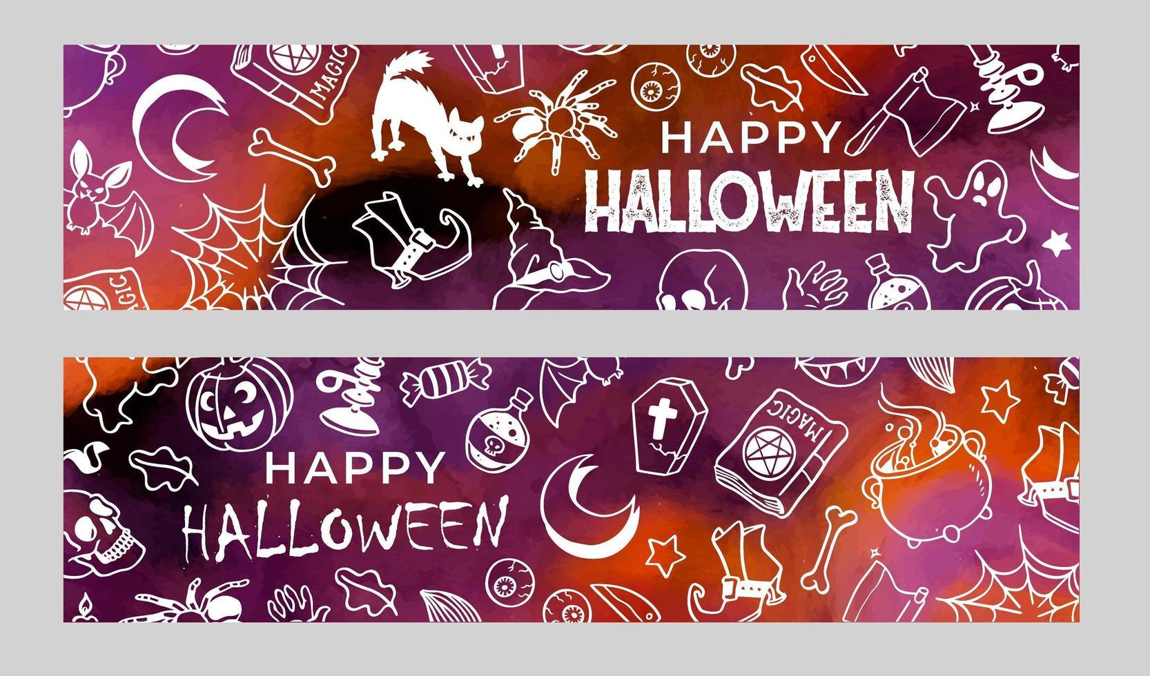 conjunto de banners de halloween com rabiscos vetor