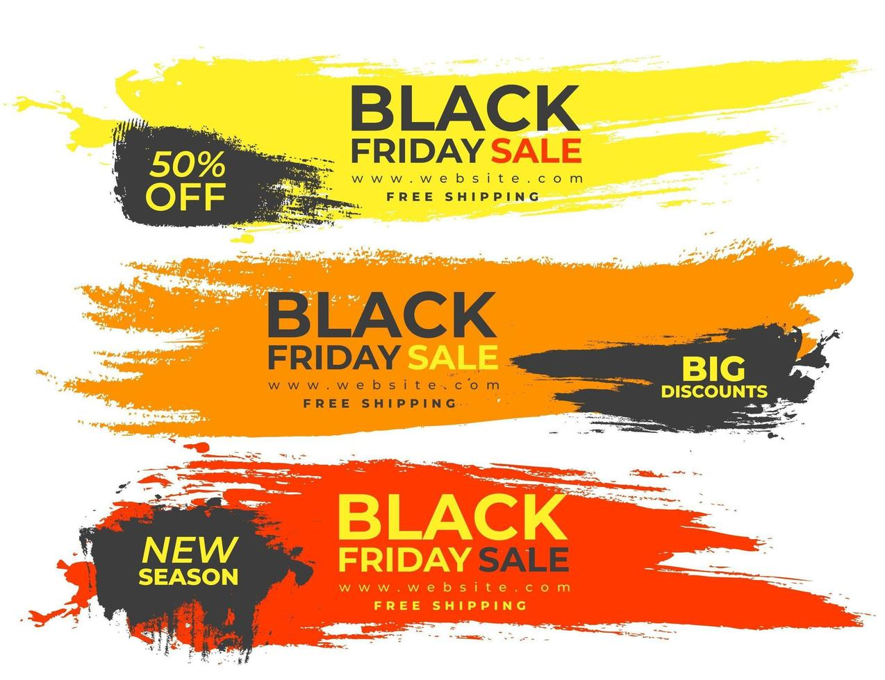banners coloridos para sexta-feira negra vetor