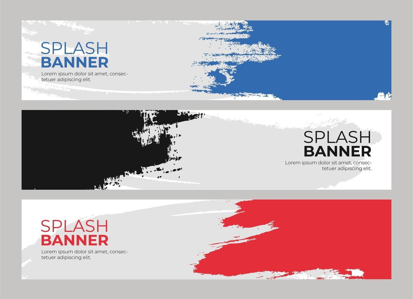 conjunto de pancartas con salpicaduras de colores vector