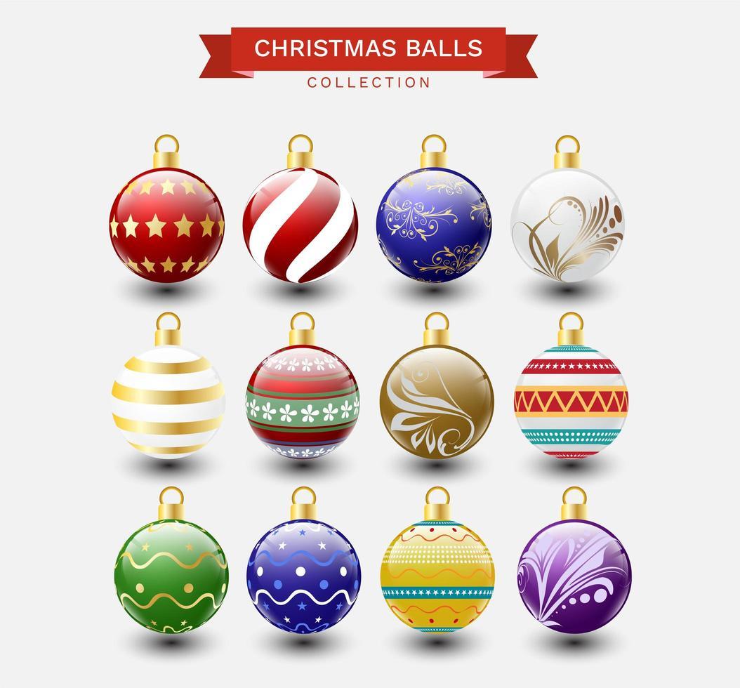 Christmas balls collection vector