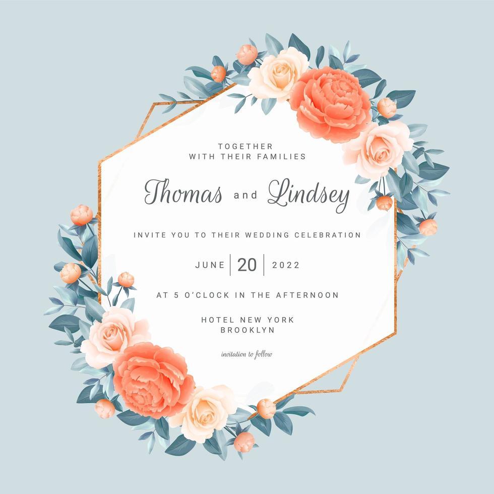 floral geométrico salvar a data moldura do casamento vetor