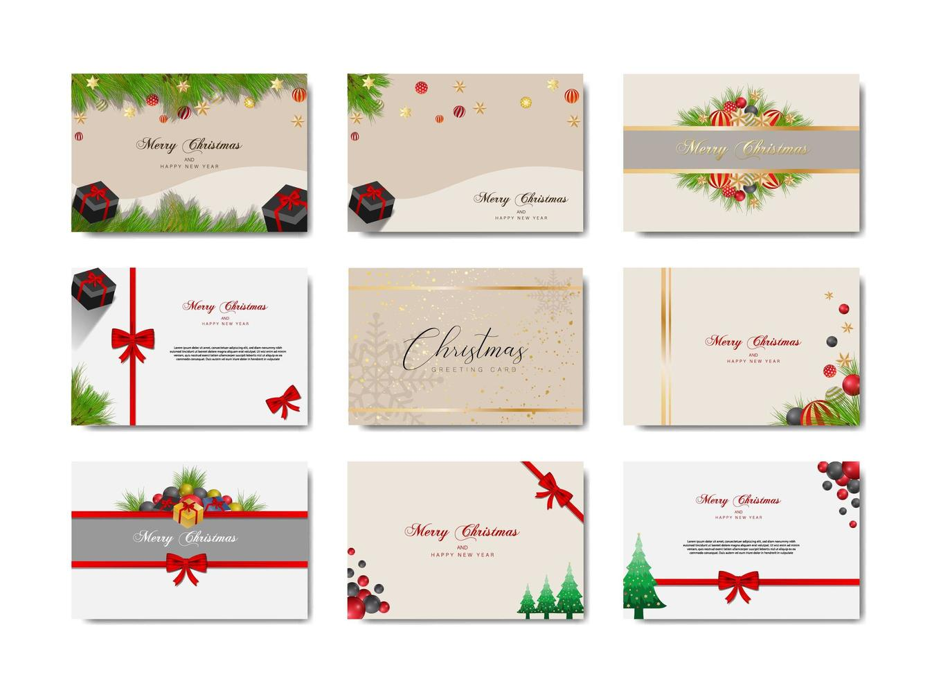conjunto de tarjetas de felicitación de navidad vector