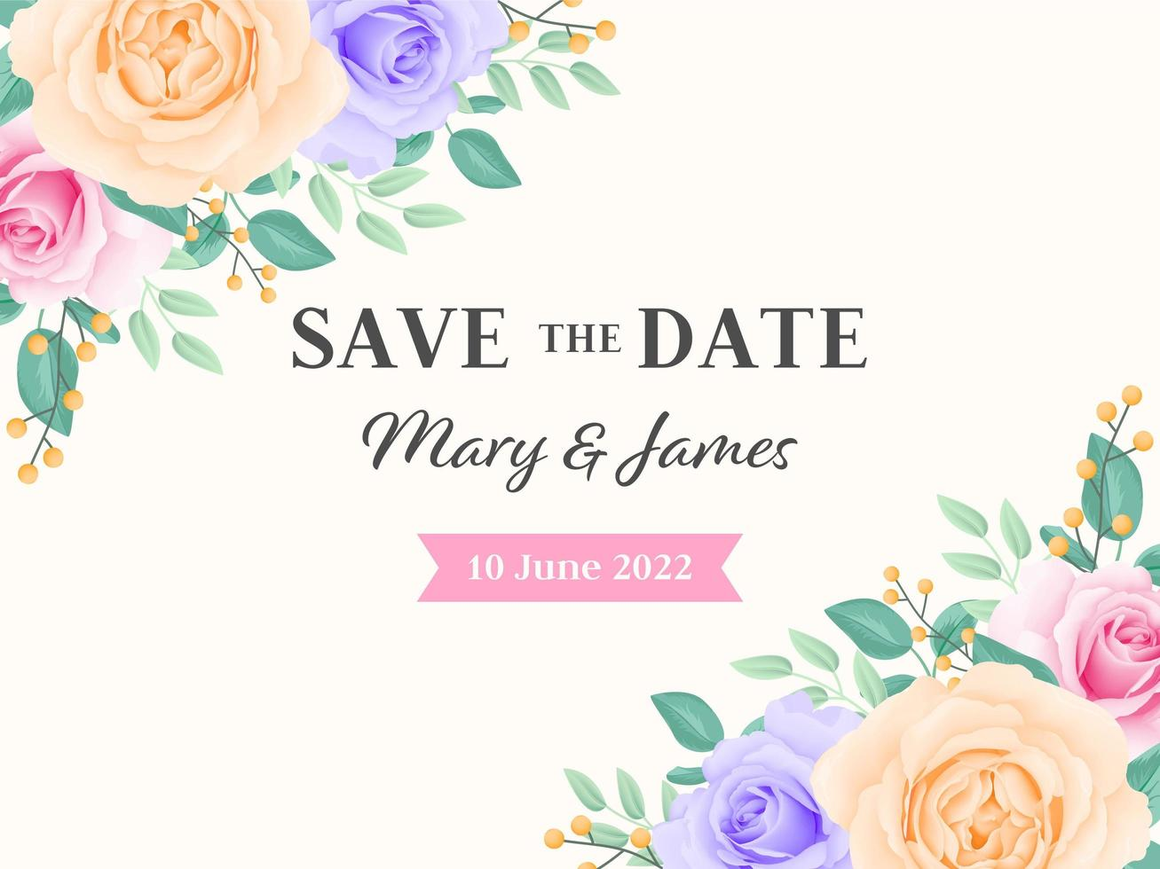 salvar a data cartão de flores rosa vetor