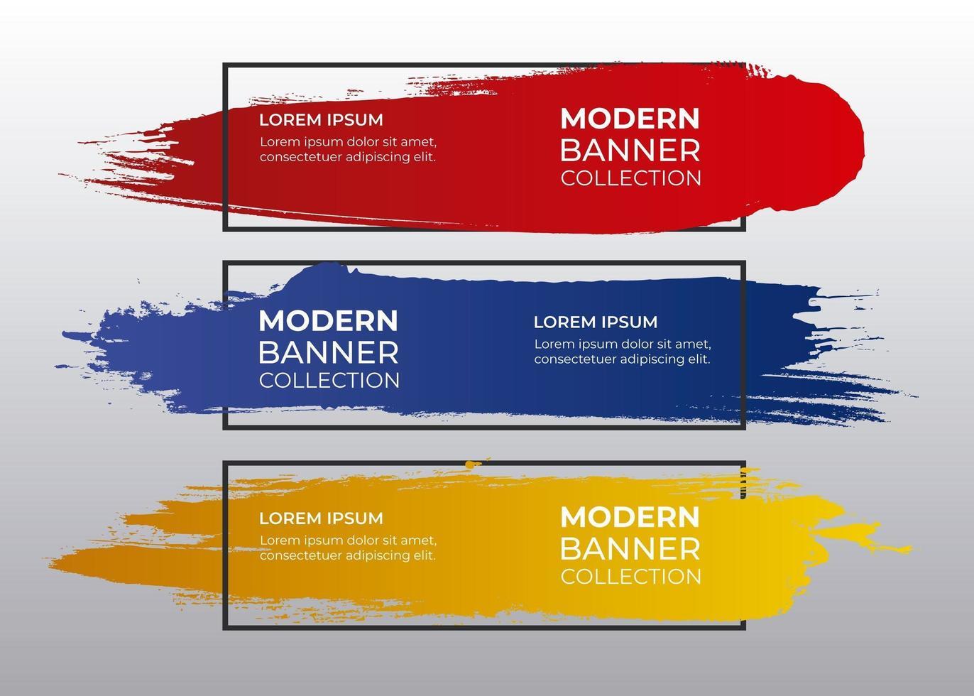 conjunto de pinceladas de colores con marco negro vector