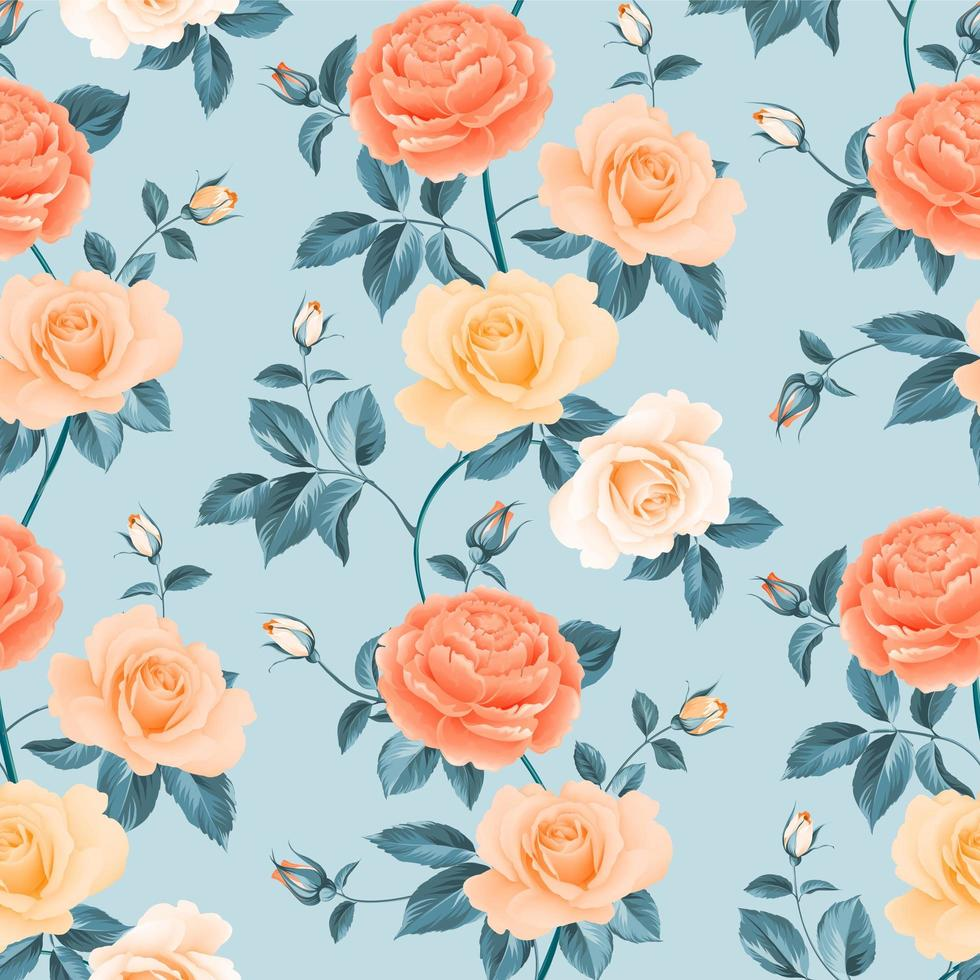 Colorful Seamless Roses and Chrysanthemum Pattern vector