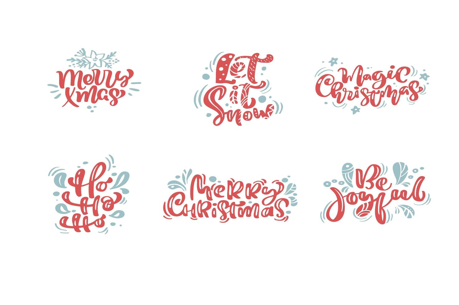 Set of Christmas calligraphic hand written phrases vector