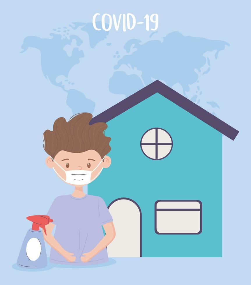 prevenção covid-19 e desinfecção de vírus vetor