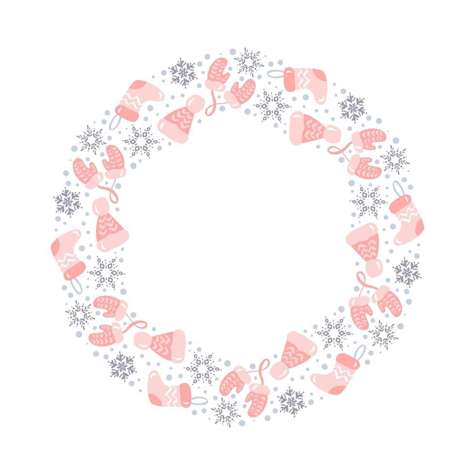 corona de navidad con elementos de navidad rosa vector