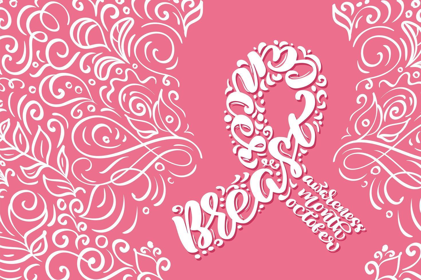fita rosa estilizada com caligrafia de conscientização do câncer de mama vetor