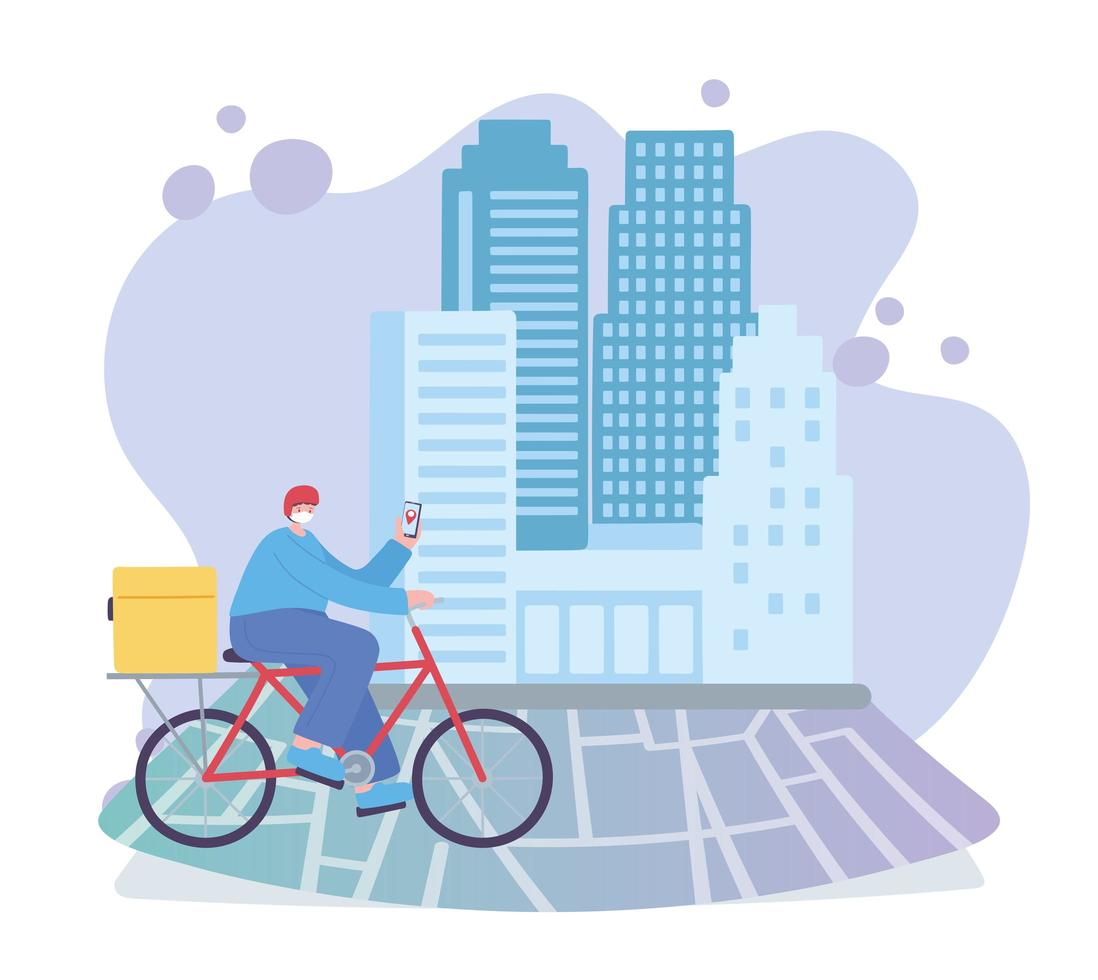 Online delivery with bike courier service vector