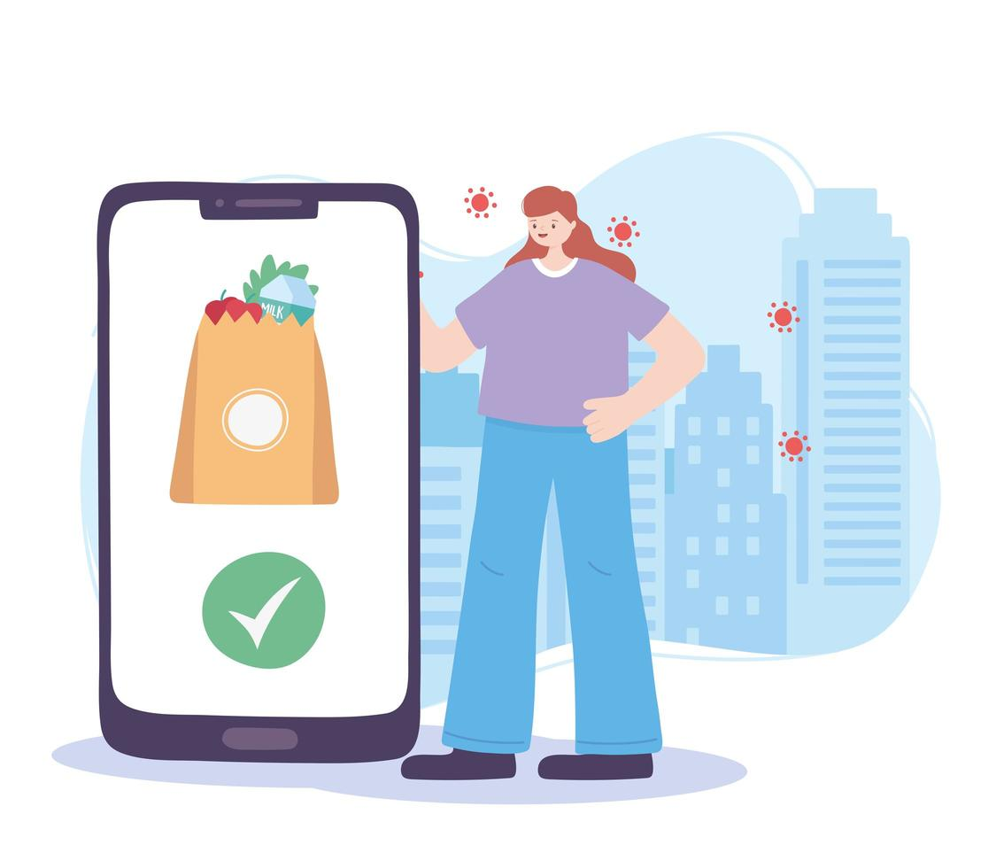 Online delivery service with woman and smartphone vector