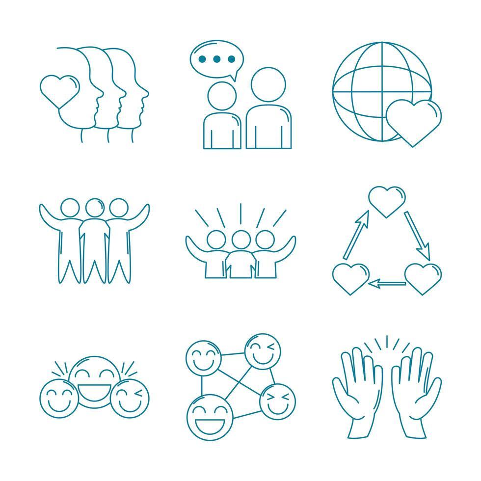 conjunto de iconos de apoyo de amor y relación vector