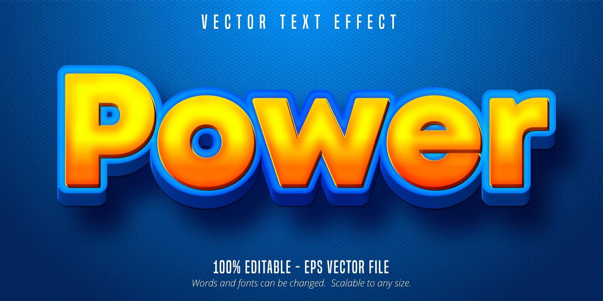 efecto de texto editable de estilo de dibujos animados de gradiente naranja vector