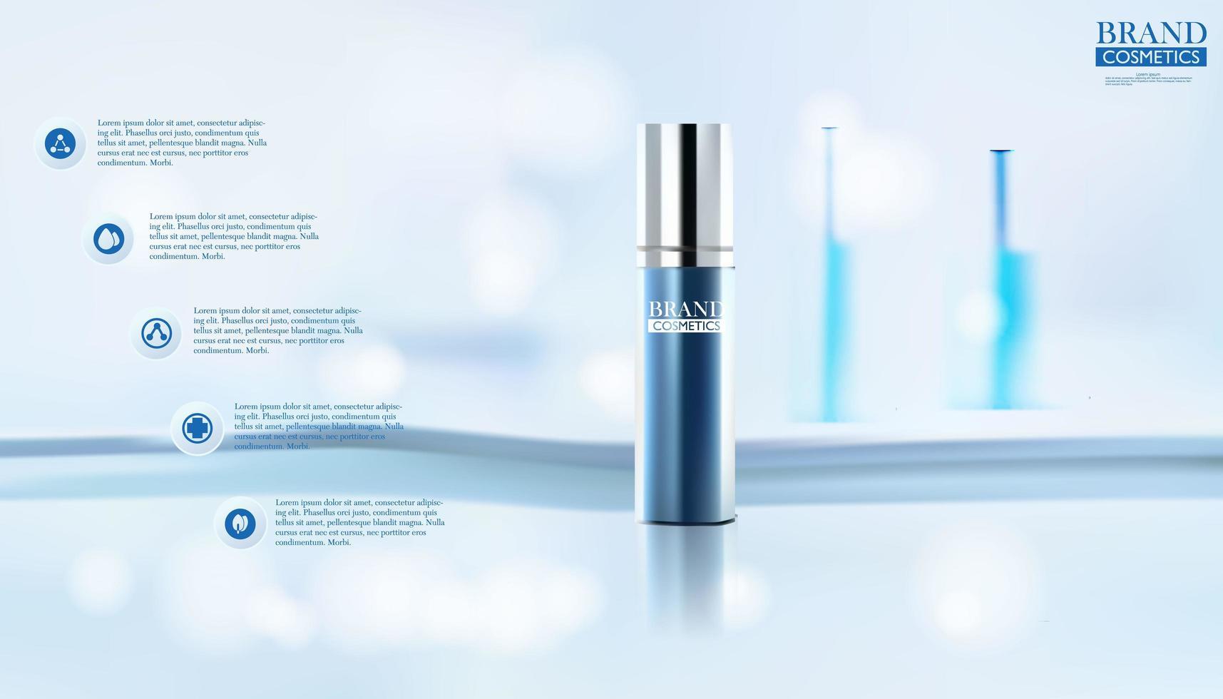 Botella cosmética sobre fondo azul borroso vector