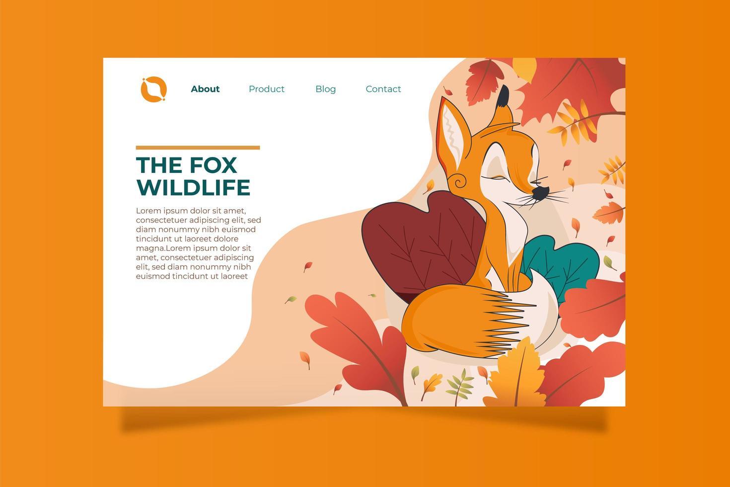 flat fox em modelo de página de destino de outono vetor