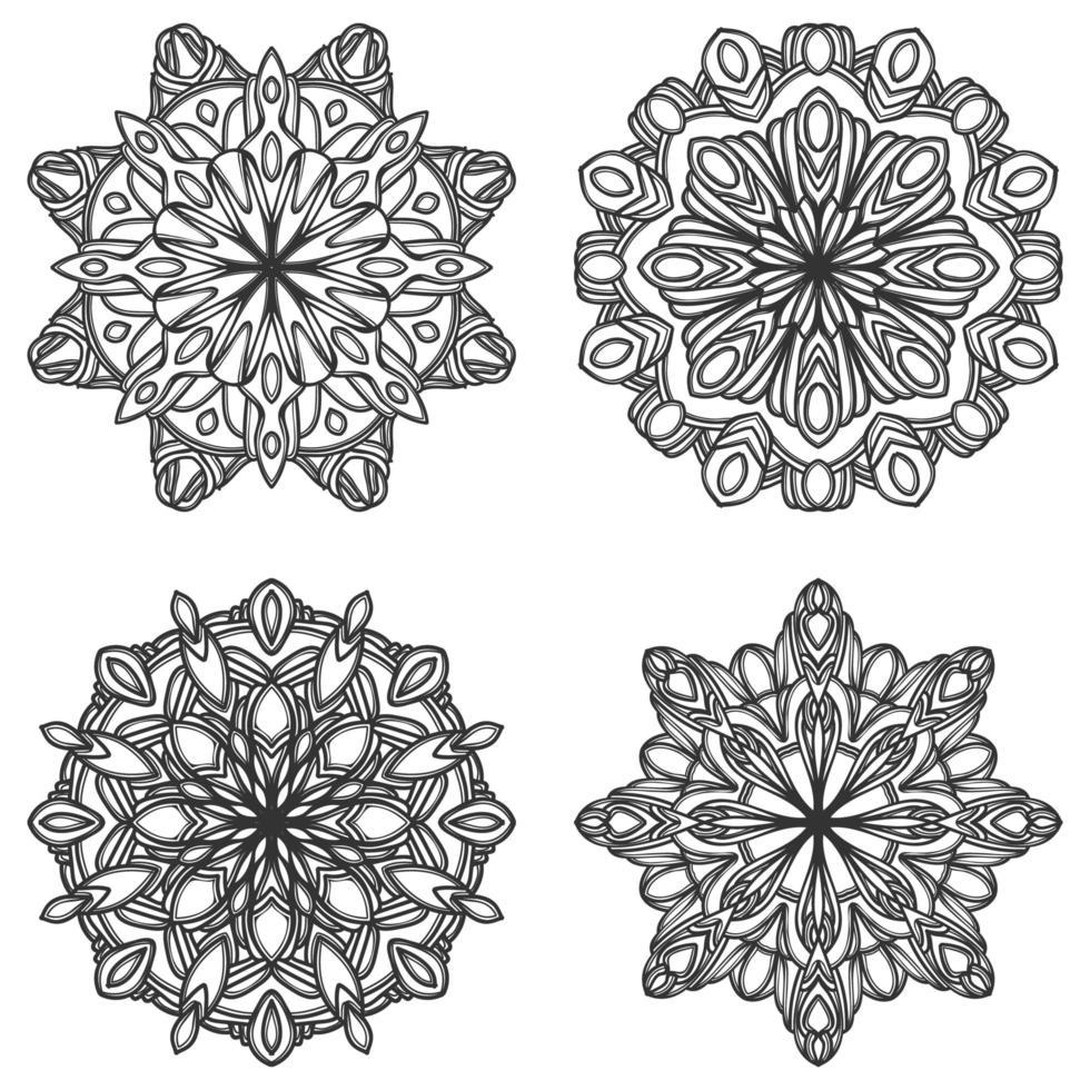 conjunto de mandala preto e branco vetor