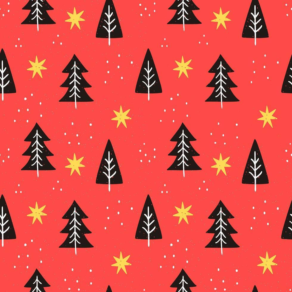 padrão colorido com formas de árvore de doodle vetor