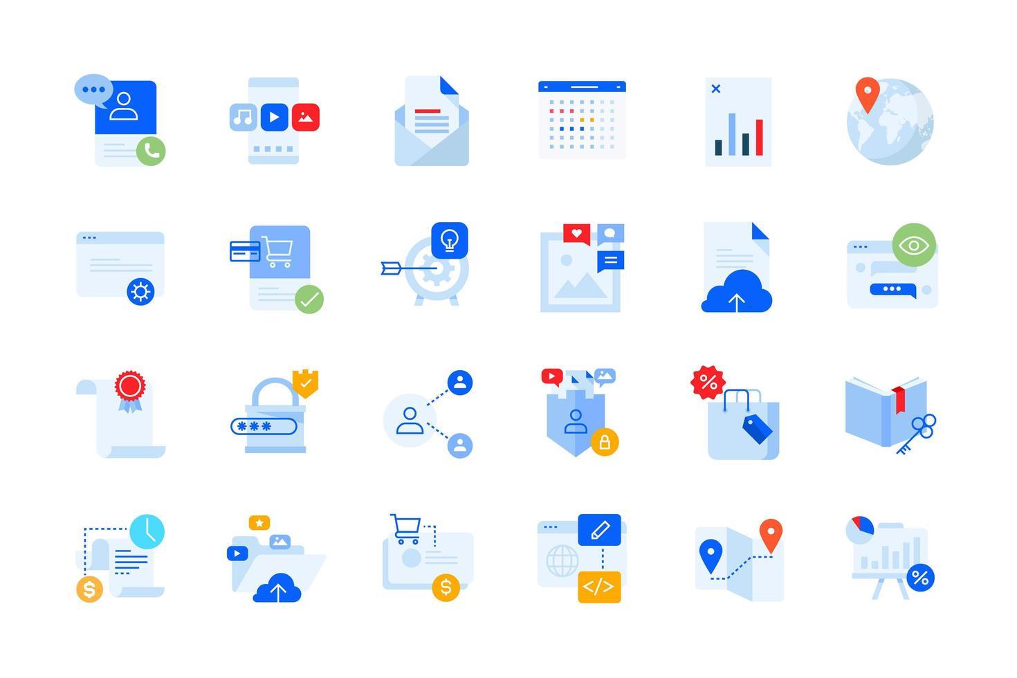 diseño y desarrollo de aplicaciones, iconos modernos de negocios vector