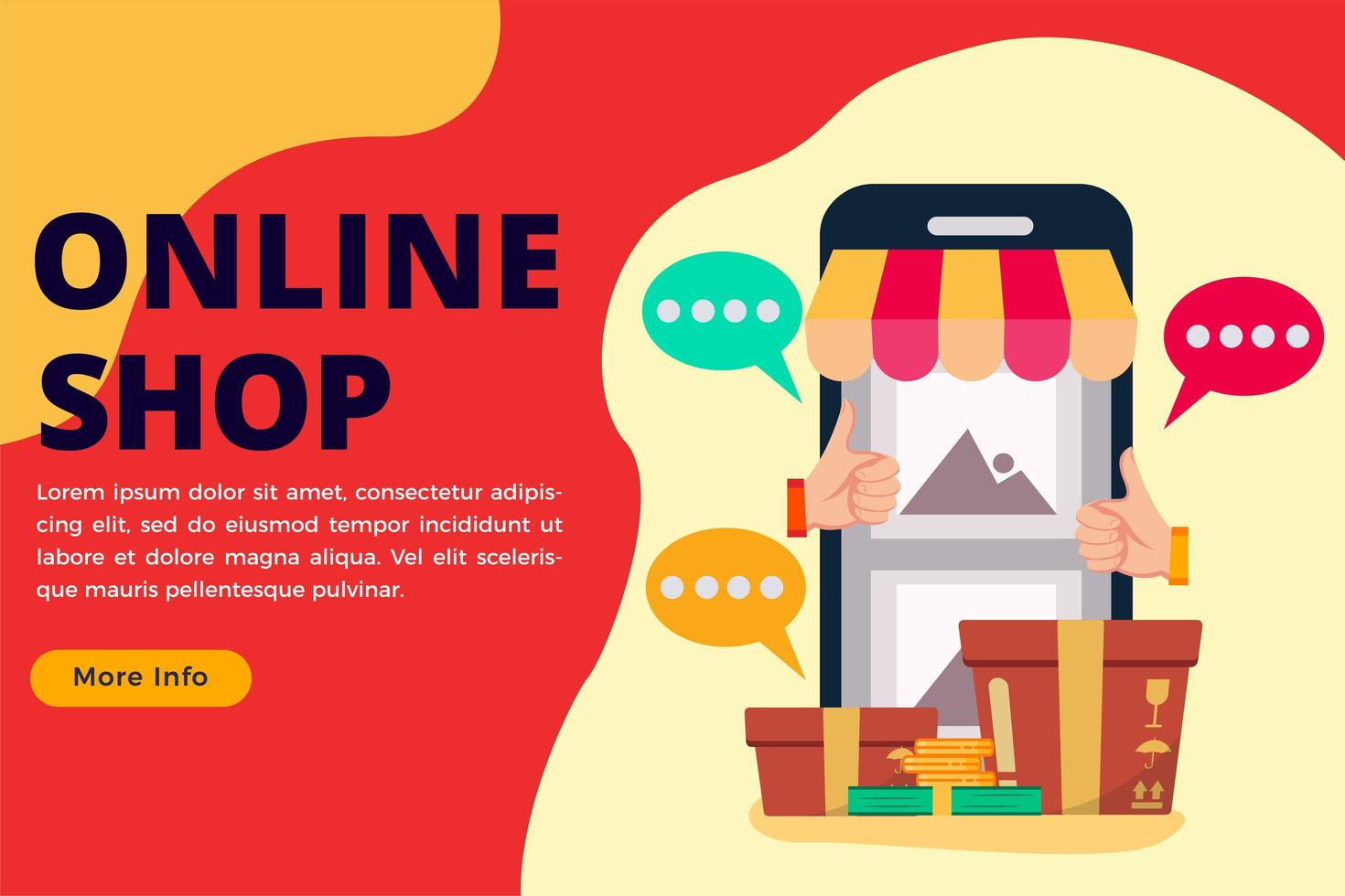 Online shop concept banner or landing page vector