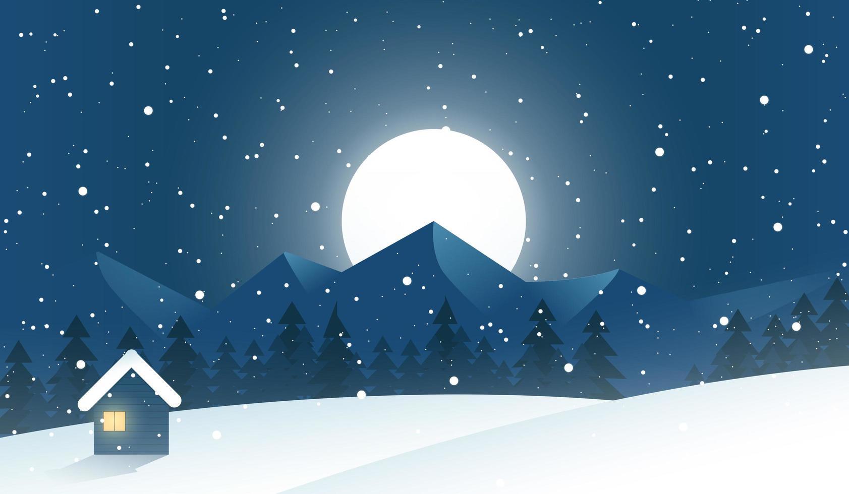 sob o luar, cena do inverno vetor