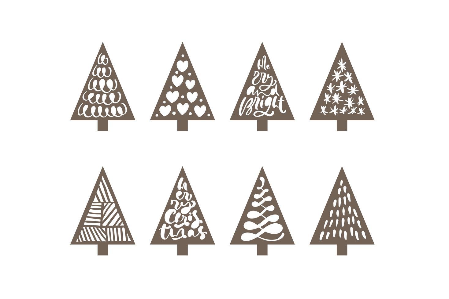 conjunto de árbol de navidad conjunto de corte láser vector