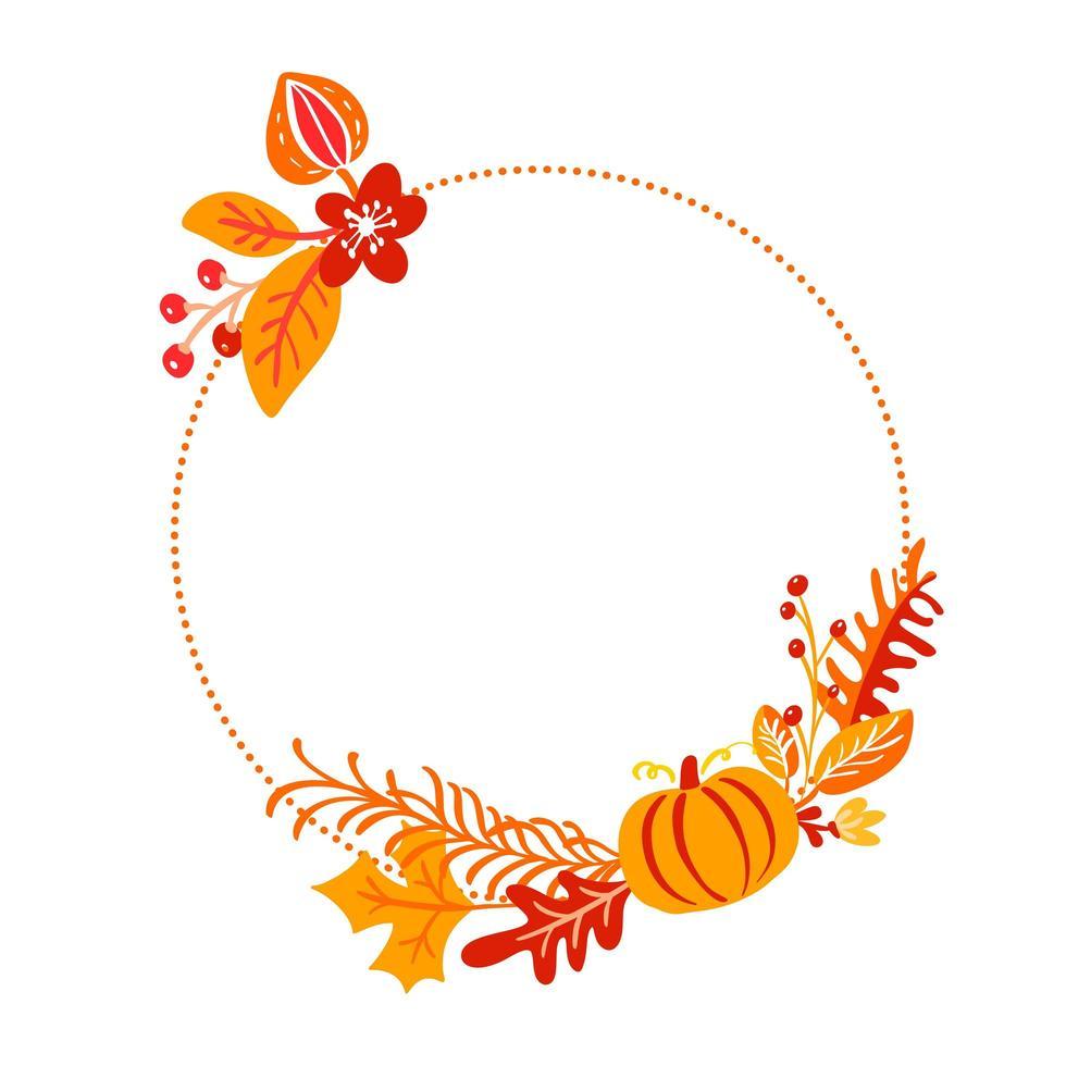 marco de corona de ramo de otoño vector