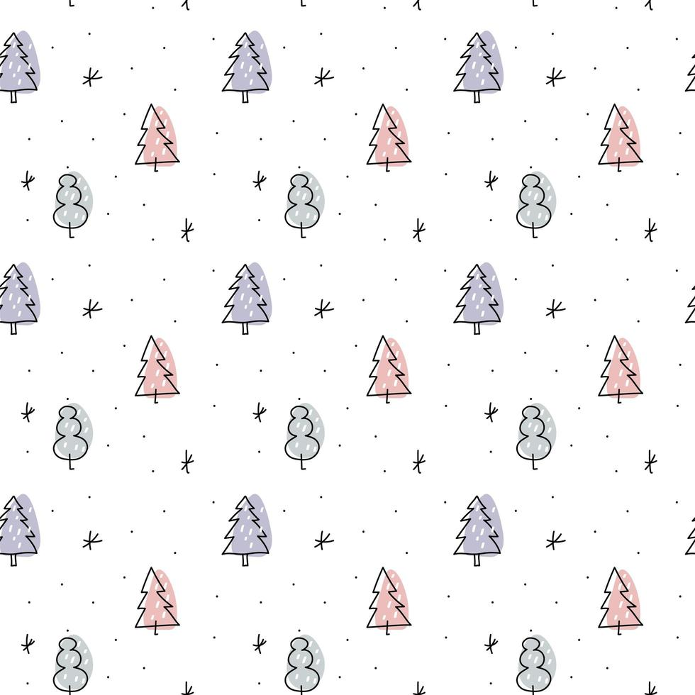 navidad minimalista monoline escandinavo de patrones sin fisuras vector