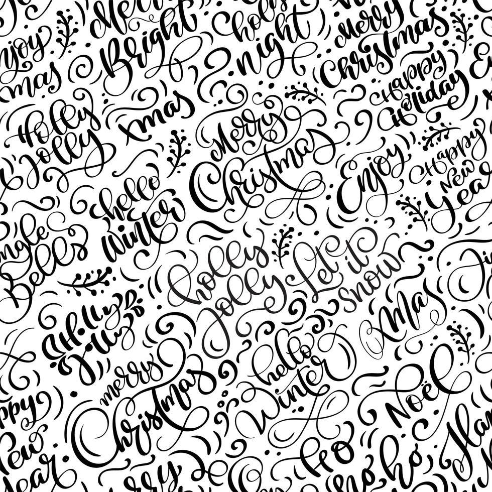 padrão sem emenda para o natal com caligrafia floreada vetor