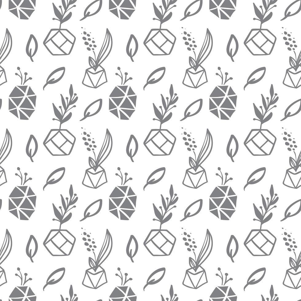 patrón sin fisuras con hojas y macetas de plantas suculentas vector
