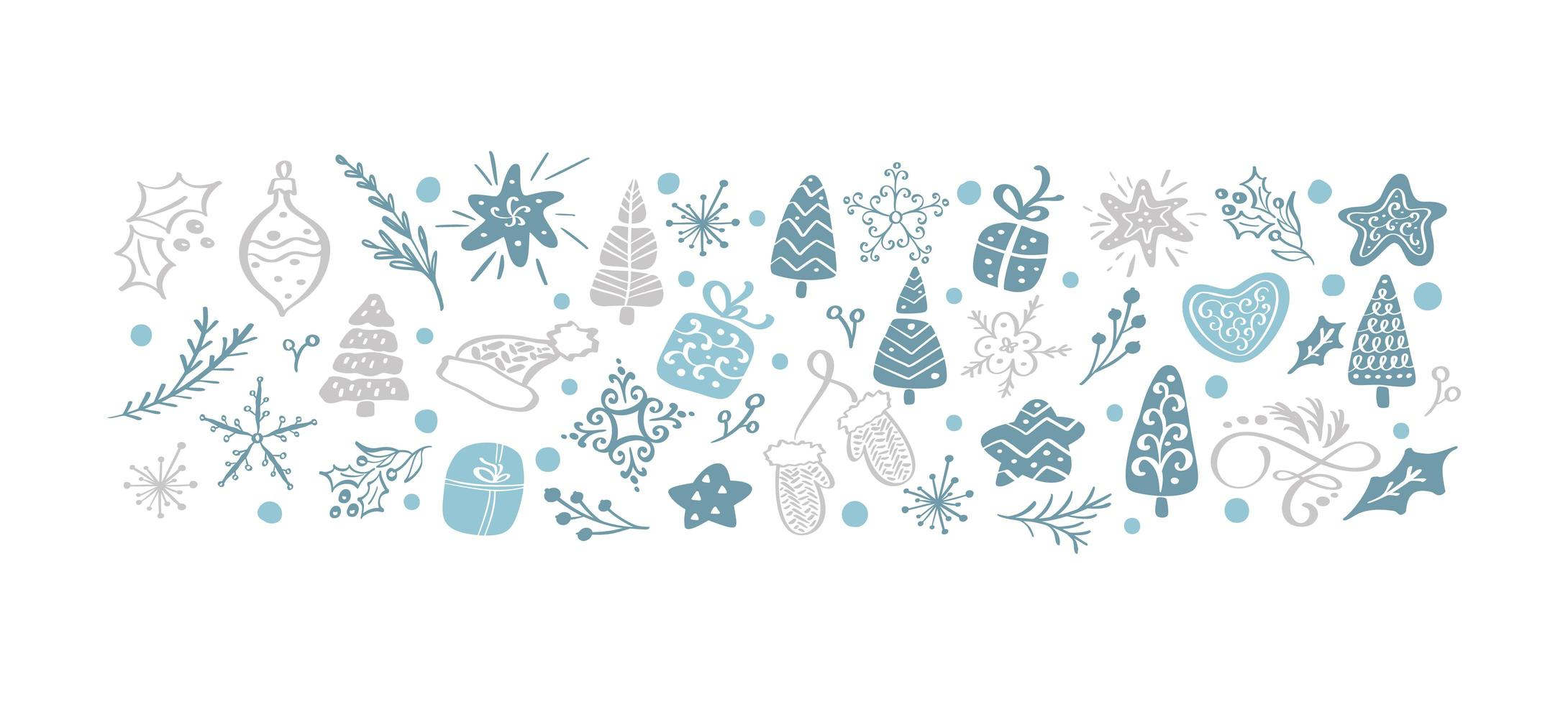 mão desenhada elementos vintage de natal vetor