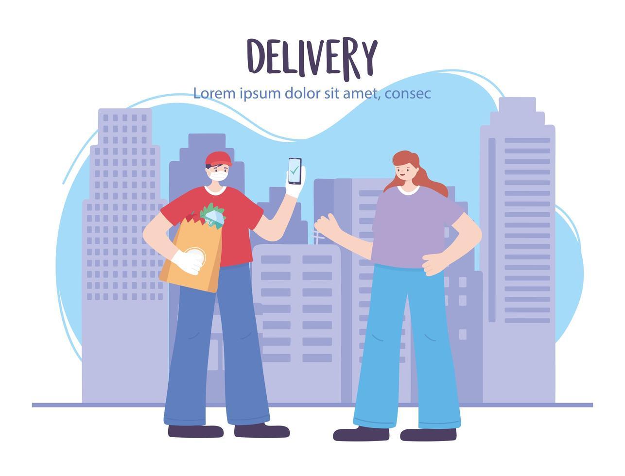 banner de plantilla de servicio de entrega en línea vector