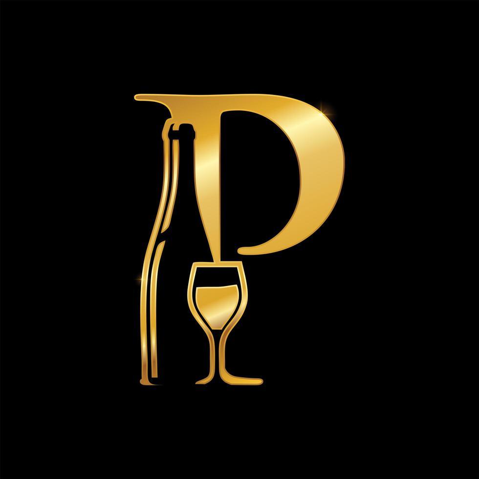 Golden Monogram Letter P Wine and Bottle Sign vector