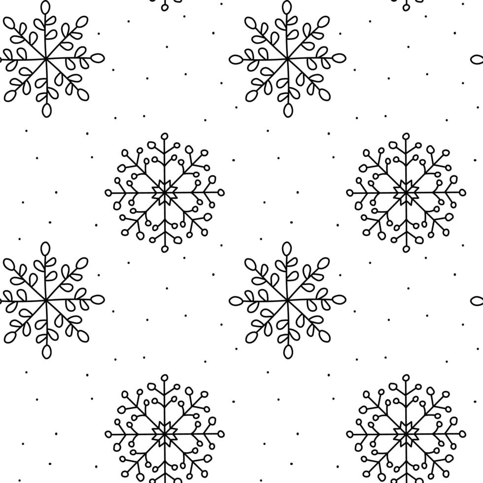 Winter snowflake monoline Christmas pattern vector
