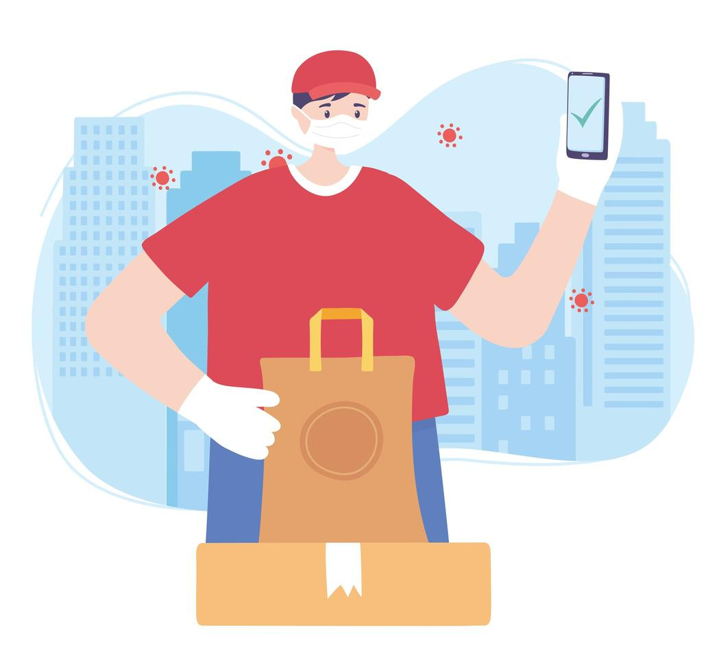 serviço de entrega de comida online vetor