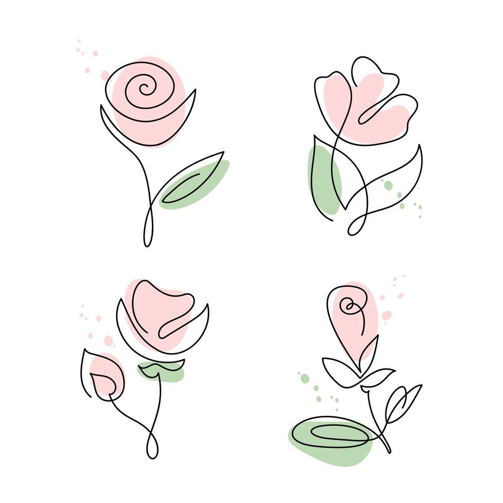 línea continua dibujada a mano conjunto de flores rosas vector