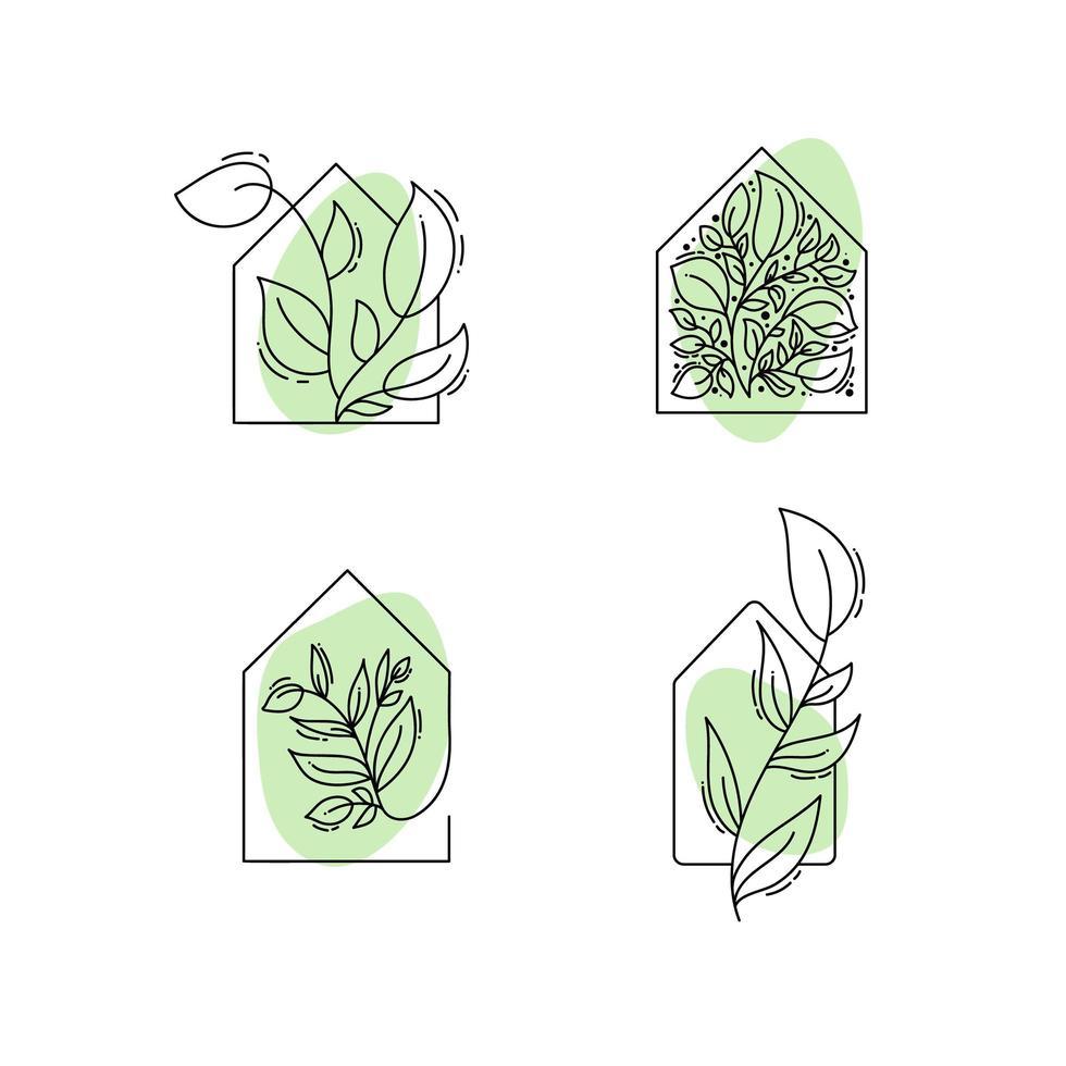 iconos de la casa ecológica con hojas vector
