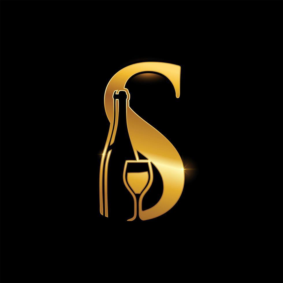 garrafa de vinho dourada e letra s de monograma de vidro vetor