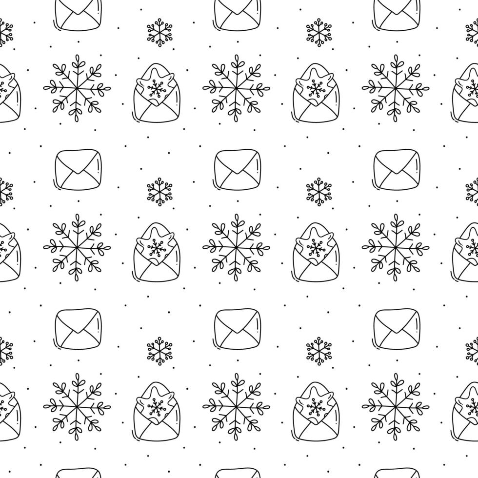 floco de neve e envelope padrão monoline de natal vetor