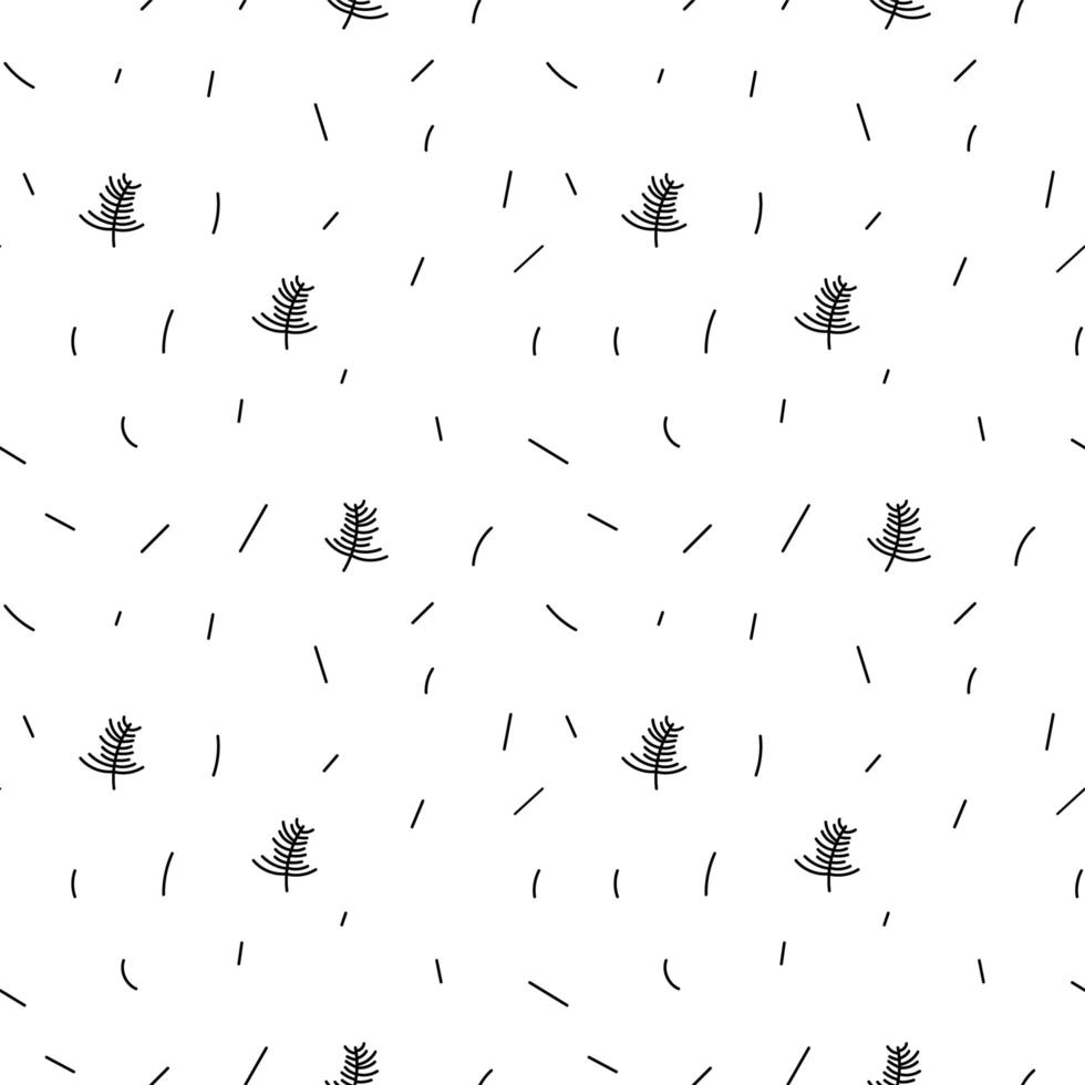 Monoline minimalista em preto e branco folha padrão uniforme vetor