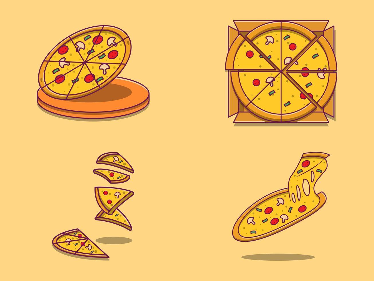 conjunto de pizzas fofas de desenho animado vetor